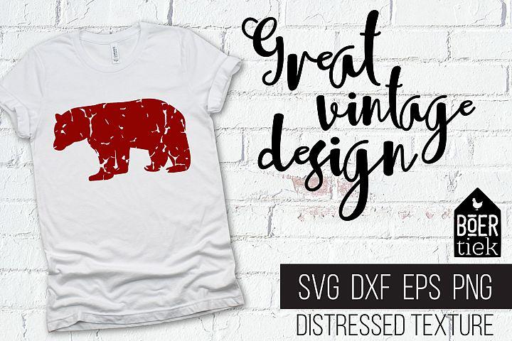 Vintage bear, distressed texture, bear SVG file