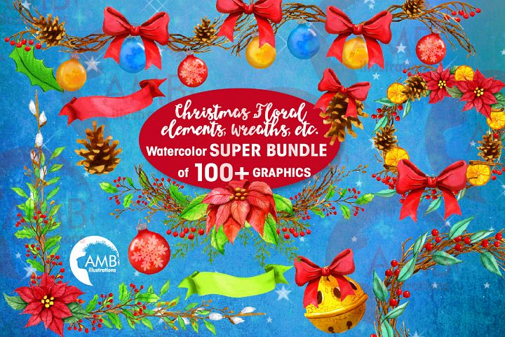 Watercolor Poinsettia, SUPER BUNDLE! AMB-2683