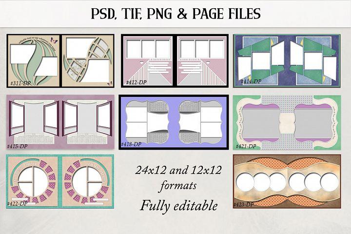 Digital Scrapbook Double Page Templates Bundle 2