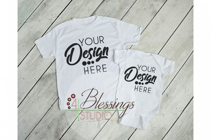 White Baby Bodysuit and T Shirt Mockup - Baby Shirt Mock up