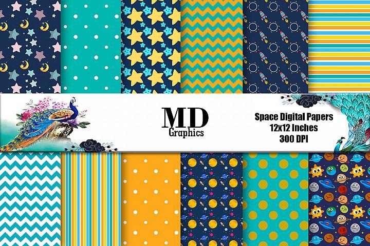 Space Digital Paper, Scrapbooking Papers, Digital Papers