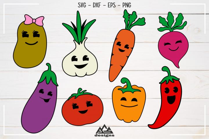 Cute Vegetables Pack Svg Design