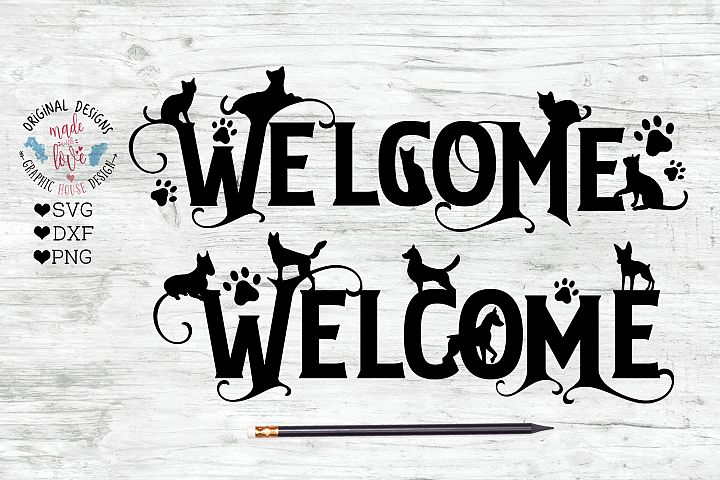 Welcome Dog Cat Cut File