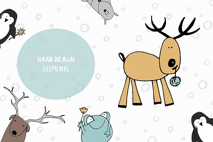 Animals & patterns for baby nursery Cute baby illustrations example 2