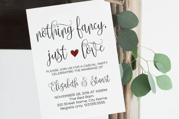 Elopement wedding invitation, Rustic wood and lights