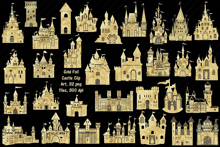 Gold Foil Castle Clip Art