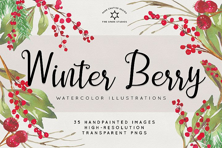 Winter Berry Watercolor Illustrations