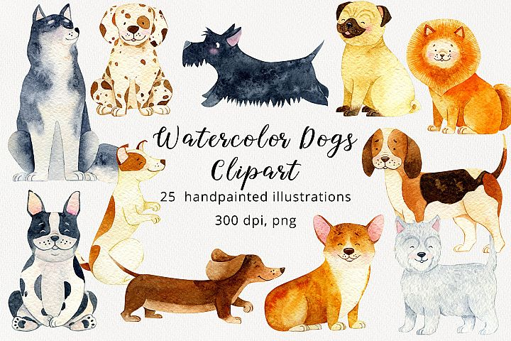 Cute Watercolor Dogs and Puppies