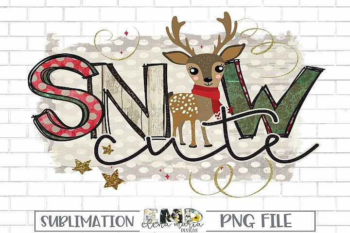 Christmas Sublimation Transfer Clipart | Snow Cute Clip Art