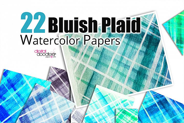 Bluish Plaid Digital Watercolor Paper
