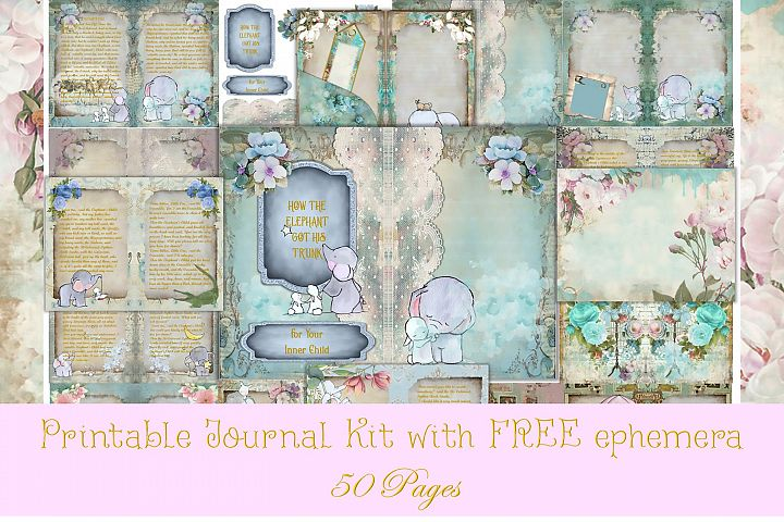 Printable Vintage Journal Kit Elephants 50 Pages Commercial