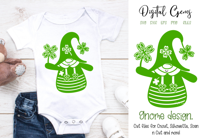 Gnome, St Patricks day design. PNG / SVG / EPS / DXF files.