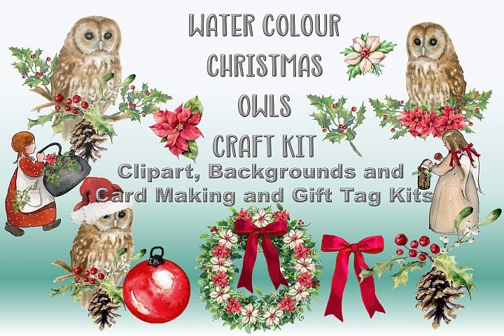 Watercolour Christmas Owls Clipart, Backgrounds & Craft Kit