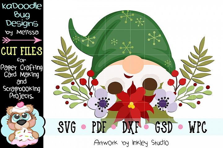 Christmas Flower Gnome Cut File - SVG PDF DXF GSD WPC