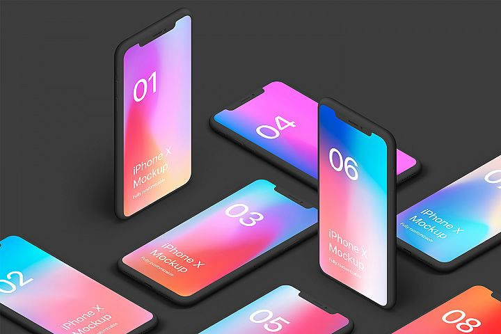 iPhone XS Clay 20 Mockups Scenes 5K - PSD