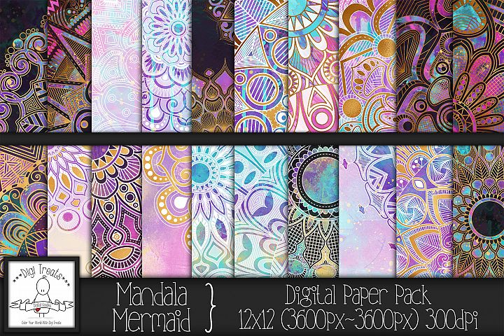 Mandala Mermaid 12x12 Digital Paper Pack