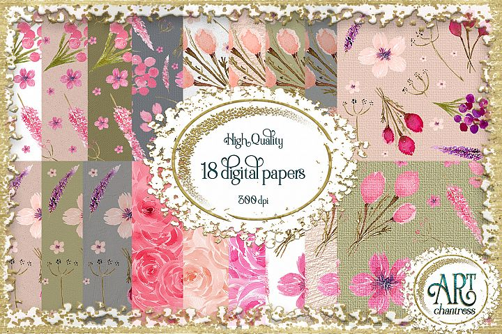 Watercolor Floral digital papers - crafted textures