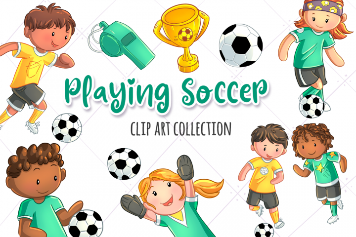 Kids Playing Soccer Clip Art Collection