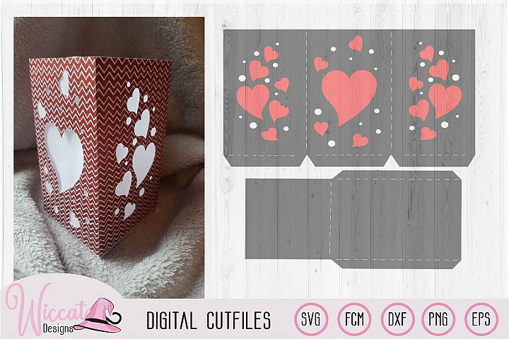 Valentine heart lantern template, floating hearts,