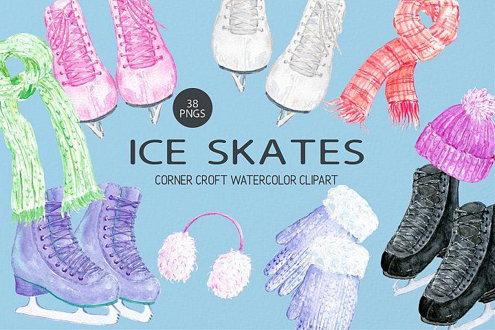 Watercolour Ice Skates Illustration