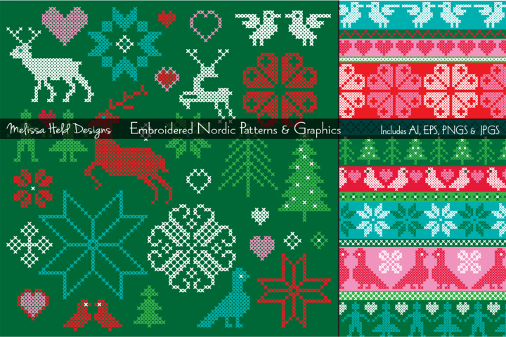 Embroidered Nordic Patterns & Graphics Bundle