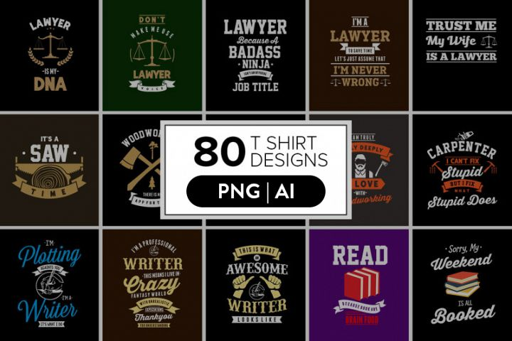80 Awesome T-Shirt Designs Bundle Hot Niche 2019