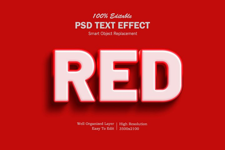 Red 3D Text Effects
