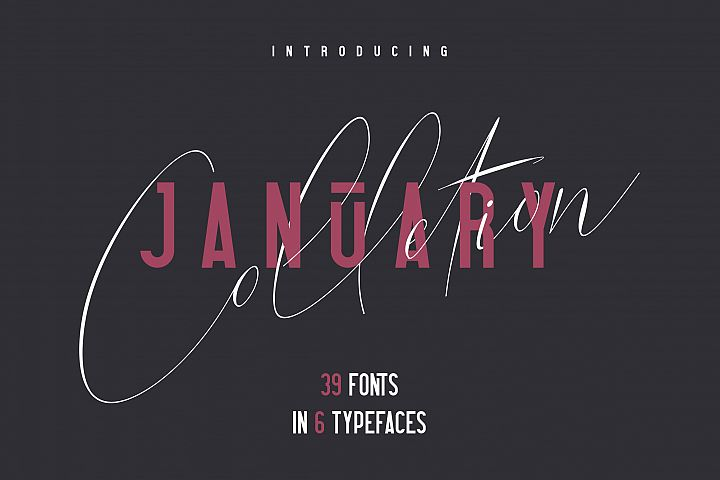 6in1 January Collection - 39 Fonts