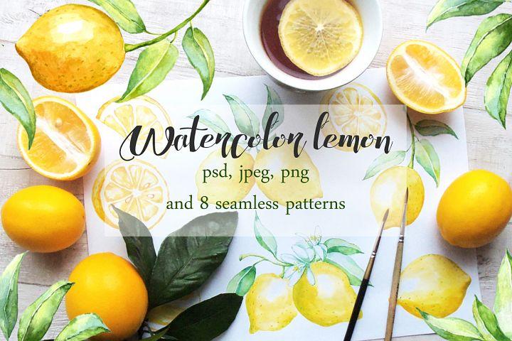 Watercolor lemon set