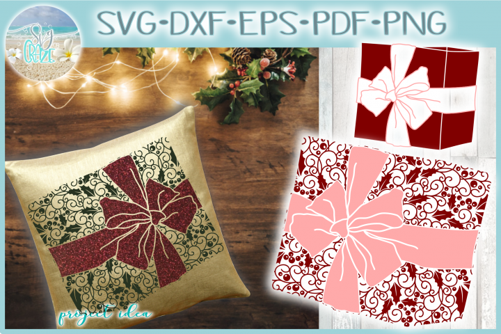 Gift with Bow Mandala Holly Berries Zentangle SVG