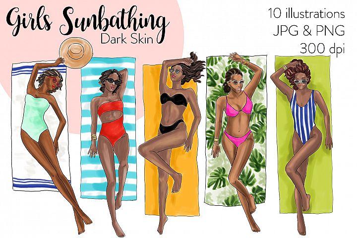 Fashion illustration clipart - Girls Sunbathing - Dark Skin
