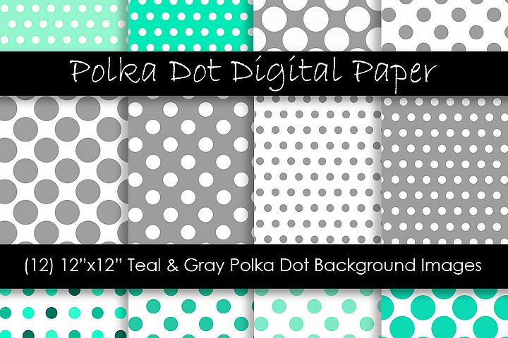 Teal & Gray Polka Dot Patterns