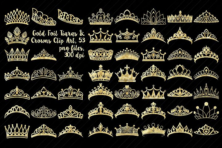 Gold Foil Tiaras and Crowns Clip Art, PRINCESS CLIP ART