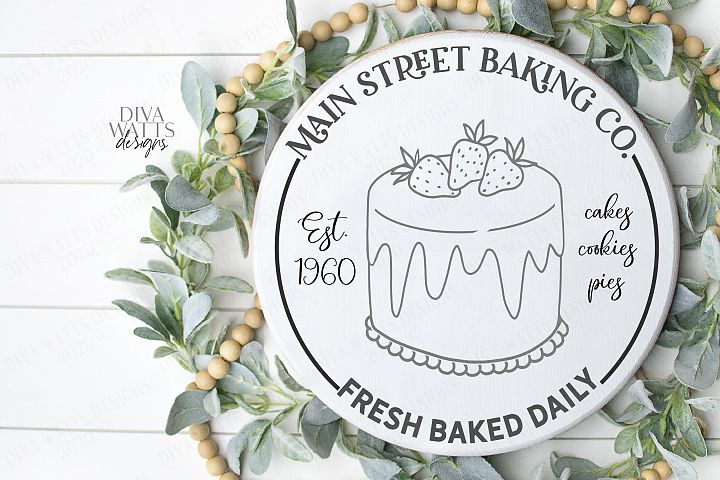Main Street Baking Co Cakes Pies Cookies Round Kitchen Sign