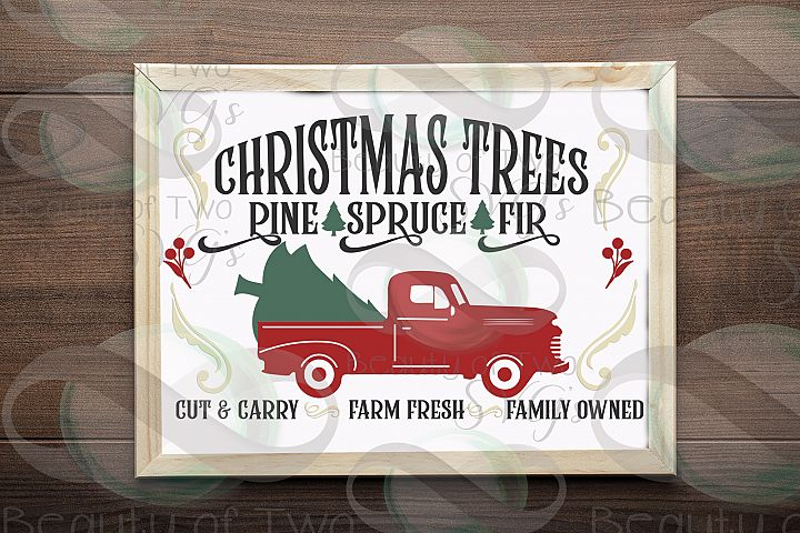 Christmas Red Vintage Truck svg, Christmas Trees sign svg,