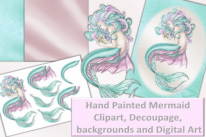 Mermaid clipart, Wall Art and decoupage sheet JPEG and PNG