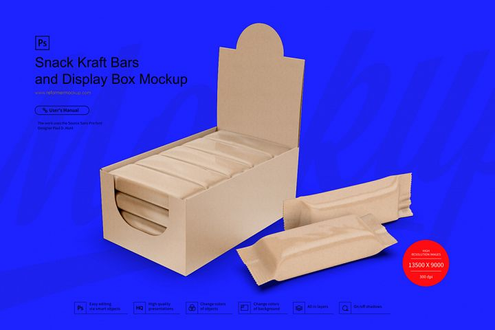 Kraft Snack Bars and Display Box Mockup