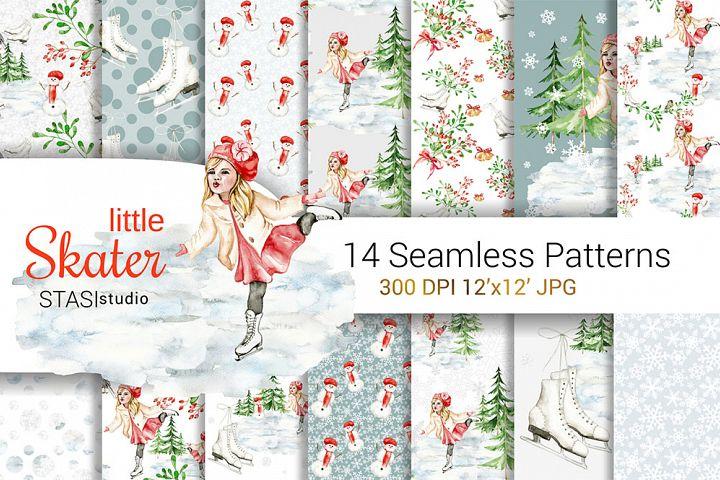 Little Skater Christmas Background Pattern