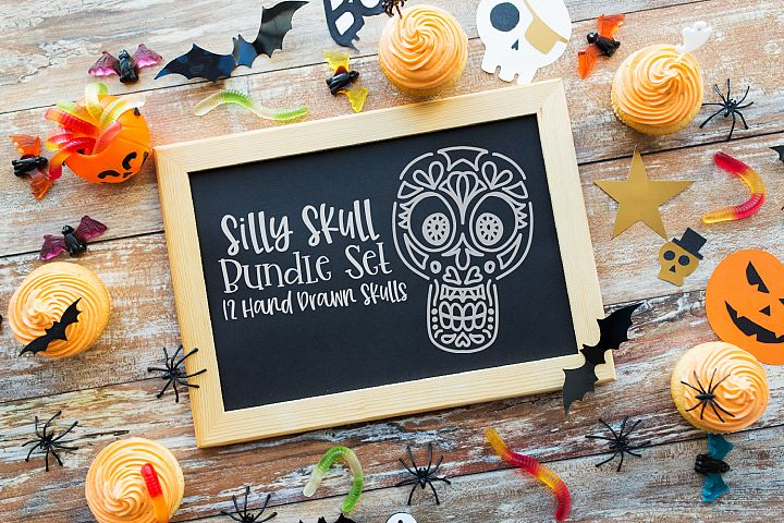 Silly Skull Bundle - 12 Hand Drawn Skulls - SVG DXF PNG