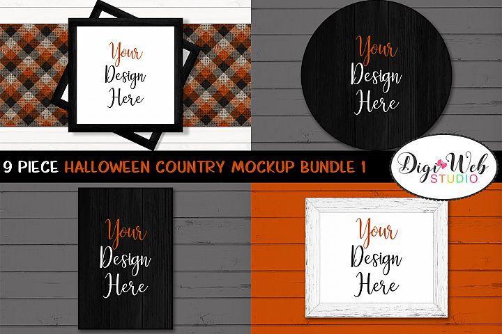 Mockup Bundle - Halloween Country Wood Signs & Frames