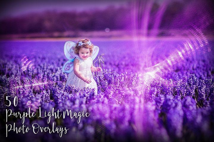 50 Purple Light Magic Photo Overlays