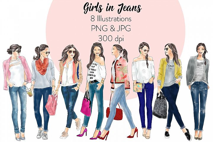 Girls in jeans watercolor fashion illustration clipart