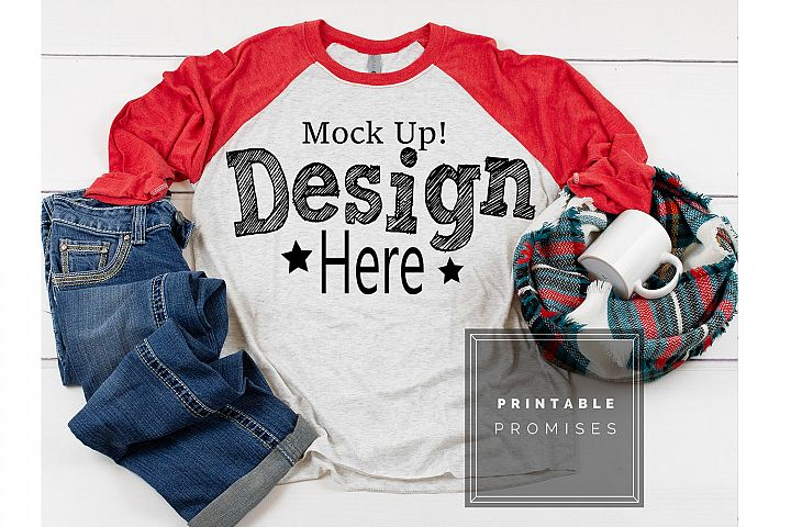 Raglan Mockup Next Level 6051 Red Raglan Mockup Shirt