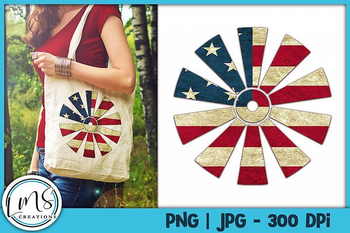 Patriotic Windmill PNG, JPG, Sublimation Design, Print n Cut