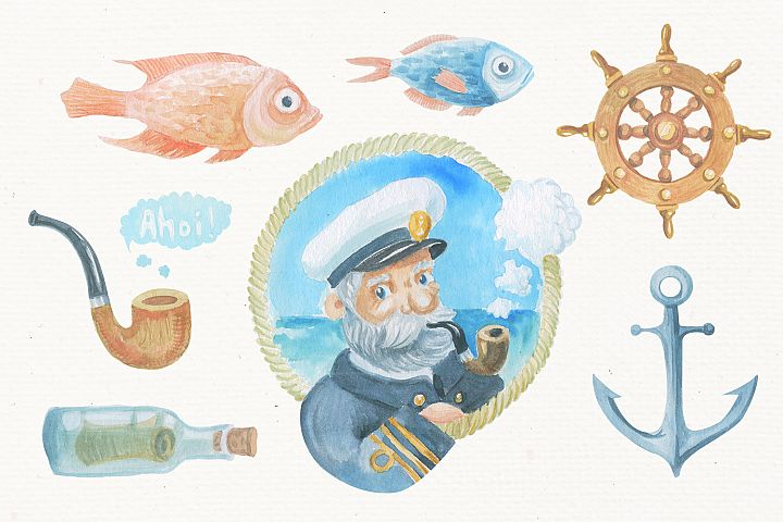 Nautical watercolor clipart collection - Free Design of The Week Design0