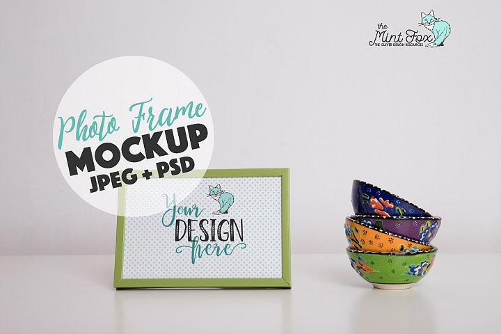 Photo Frame Mockup with Cups