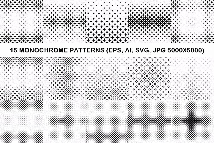 15 curved star patterns (EPS, AI, SVG, JPG 5000x5000)