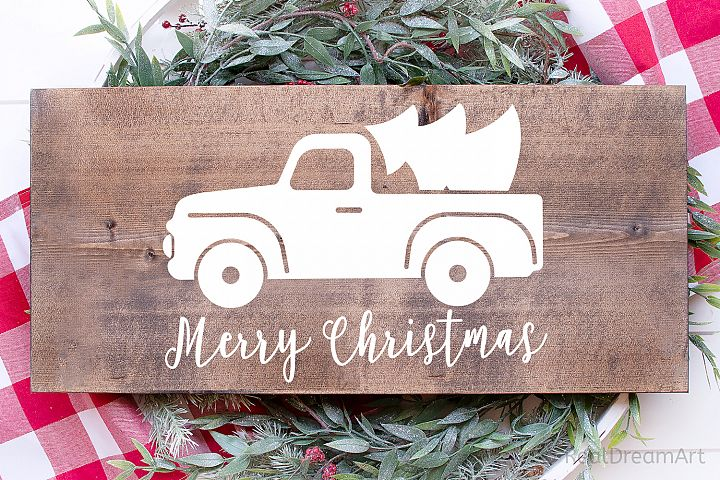 Merry Christmas with Truck SVG, DXF, PNG, EPS