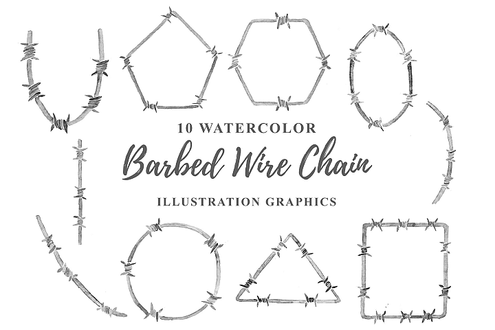 10 Watercolor Barbed Wire chain Illustration Graphics