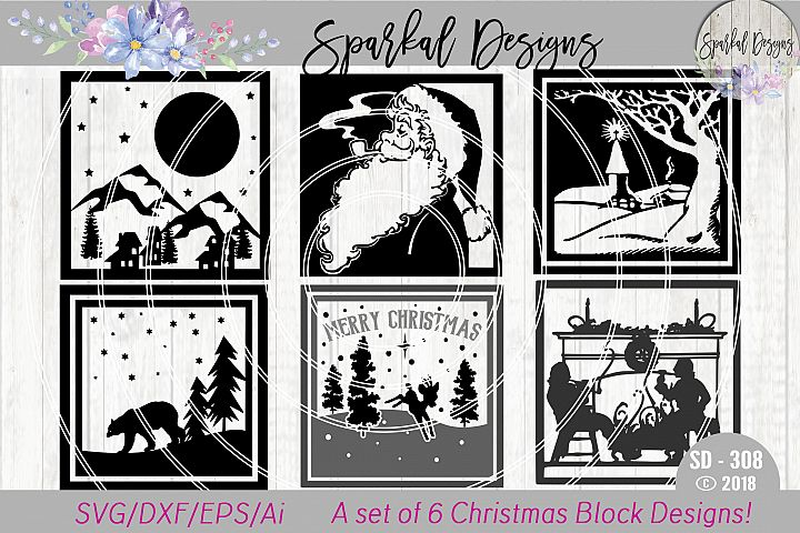Christmas Glass Block BUNDLE - A Set of 6 Christmas Sign SVG Designs